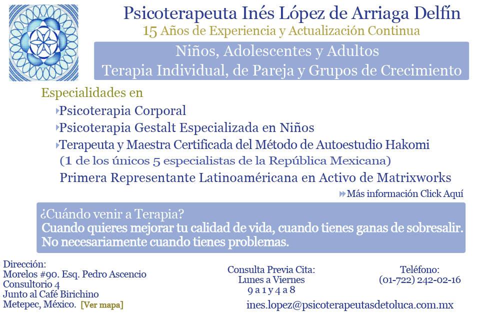 Psicoterapeuta Inés López de Arriaga Delfín. Psicología ...